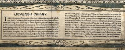 [Country description in Latin] – In: Tabula Hungariae… 1528, detail (National Széchényi Library, Collection of Early Printed Books, Apponyi Collection, App. M. 136.)