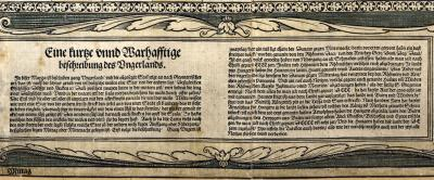 [Country description in German] – In: Tabula Hungariae… 1528, detail (National Széchényi Library, Collection of Early Printed Books, Apponyi Collection, App. M. 136.)